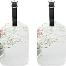 Pink Flowers Bowl Vase Blossom Green Plant Pu Leather Card Holder Luggage Tags