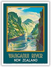 Pacifica Island Art - Wanganui River New Zealand - Gorge Boat Paddling - Vintage World Travel Poster by John Holmwood c.1930 - Master Art Print - 9in x 12in