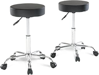 Artechworks Adjustable Rolling Swivel Salon Stool Chair for Tattoo Massage Facial Spa Medical Stool Office Chair With Wheels Black and PU Leather Cushion (2PCS)
