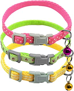 Didog Nylon Small Dogs & Kitten Collars with Cute Bells, 3Pcs in Multi Colors & Patterns