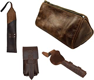 Hide & Drink, Grooming Essentials (Set of 4), Case for Straight Razor, Double Edge Safety Razor & Brush, and Toiletry Bag, For Traveling/Shaving, Handmade Includes 101 Year Warranty :: Bourbon Brown