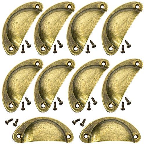 [ JBS basics ] Muschelgriff [ 10 Stück ] antik Griffe Möbel [ mit Schrauben ] Shabby Chic Schalengriff Vintage Messing Möbelgriff Schubladengriff Apotheker Griffmuschel Muldengriff