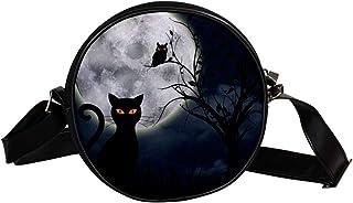 Coosun Umhängetasche für Kinder und Damen, Motiv: schwarze Katze, rund, Schultertasche