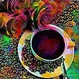 Zimal Coffee Cup Pattern and Rose Flower Diamond Embroidery Needlework Round Diamond Painting Cross Stitch Diamond Dots Decoration 11.8 X 11.8 Inch