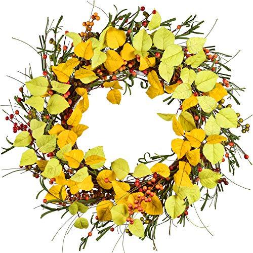 YQing 45cm Künstlicher Herbstkranz Haustürkranz, Herbstlaub Haustür Kranz mit Beere Herbst Gelb Blätter Kranz Dekoration für Halloween das Erntedankfest Innen- oder Außenanordnung Dekoration