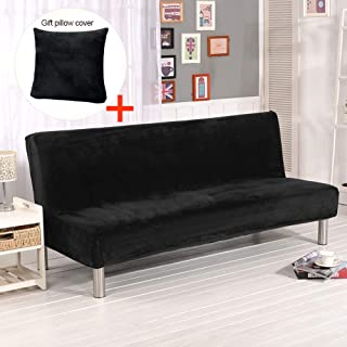 Elehealthy Armless Sofa Slipcover Stretch Sofa Bed Cover Protector Elastic Spandex Modern Simple Folding Couch Sofa Shield Futon Cover (Black)