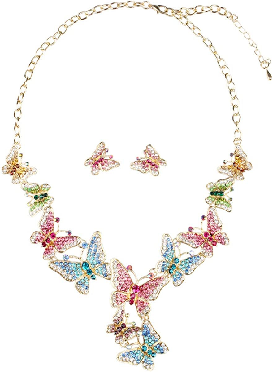 ENUUNO Prom Costume Jewelry Butterfly Crystal Choker Pendant Statement Chain Charm Necklace and Earrings Wedding Jewelry Sets for Brides