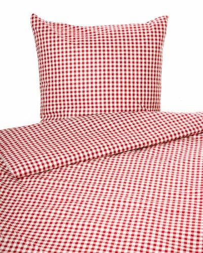 TextilDepot24 Bettwäsche Landhaus Karo rot kariert Bauern 135x200 cm + 80x80 cm 20 mm Karo