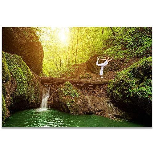 wZUN Paisaje Lienzo Pintura Bosque Tropical Cascada río rápidos Cuadro de Pared Natural para Sala de Estar Lienzo 60X90 Sin Marco