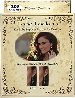 Earring Backs Support Patches & Stabilizers for Wearing Heavy Earrings by HisJewelsCreations Premium Quality Ear Lift Lobe Lockers – 120 Patches