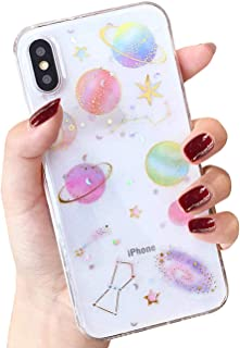 BOFTALE Clear Case for iPhone XR, Handmade Glitter Bling Sparkle Design with Gold Moon Stars Slim Soft TPU Case Compatible with iPhone XR 6.1 Inch