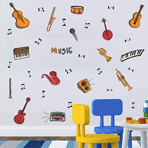 TOARTi Colorful Music Wall Decal 34pcs Attractive Musical Instrument With Guitar Piano Musical Note Sticker For Classroom Music Studio Decoration