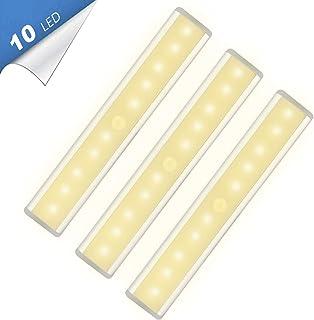 10 LED Warm White Closet Lights Motion Sensor Light, Under Cabinet Lights, USB Rechargeable Stick-on Stairs Step Light Bar, LED Night Light Magnetic Closet Lighting, Under Cabinet Light (3 Pack)
