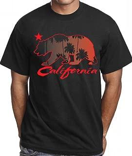 CaliDesign Men's California Palm Trees T Shirt 420 Kush Bear Black Red