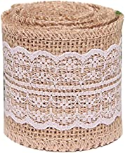 PIXNOR Natural Jute Lace Burlap Rolls Ribbon Crafts Home Wedding Christmas Decor M Brown White