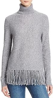 Aqua Cashmere Fringe Trim Turtleneck Cashmere Sweater
