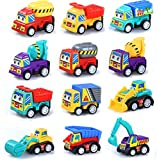 M-jump Pull Back Vehicles , 12 Pack Assorted Construction Vehicles Toy , Vehicles Truck Mini Car Toy For Kids Toddlers Boys,Pull Back and Go Car Toy Play Set