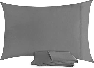 Utopia Bedding Pillowcases - 2 Pack - Envelope Closure - Soft Brushed Microfiber Fabric - Shrinkage and Fade Resistant Pillow Covers Standard Size 20 X 30 Inches (Queen, Grey)