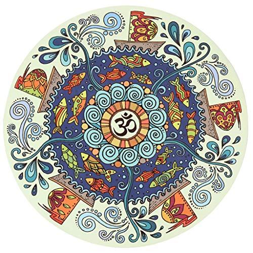 XINGDONG Esterilla de yoga redonda de 3 mm antideslizante de goma natural gruesa para el hogar, manta de meditación impresa, alfombrilla de meditación fácil de almacenar (color: F, tamaño: 3 mm)