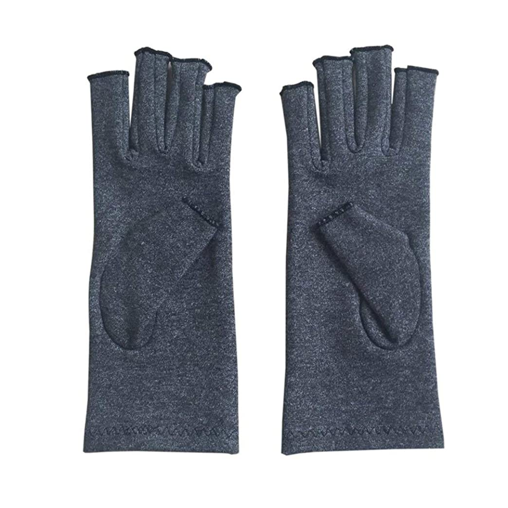 毎日心配うねるペア/セットの快適な男性の女性療法の圧縮手袋無地の通気性関節炎の関節の痛みを軽減する手袋 - グレーS