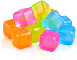Reusable Ice Cube, Yellow, Orange and Pink Square Ice Cube for Drinks BPA Free (Plastic Pack of 60)