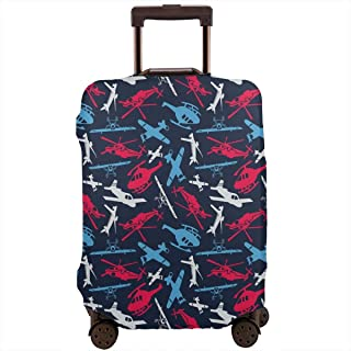 Travel Luggage Cover,Various Different Airship And Helicopter Silhouettes Boys Suitcase Protector