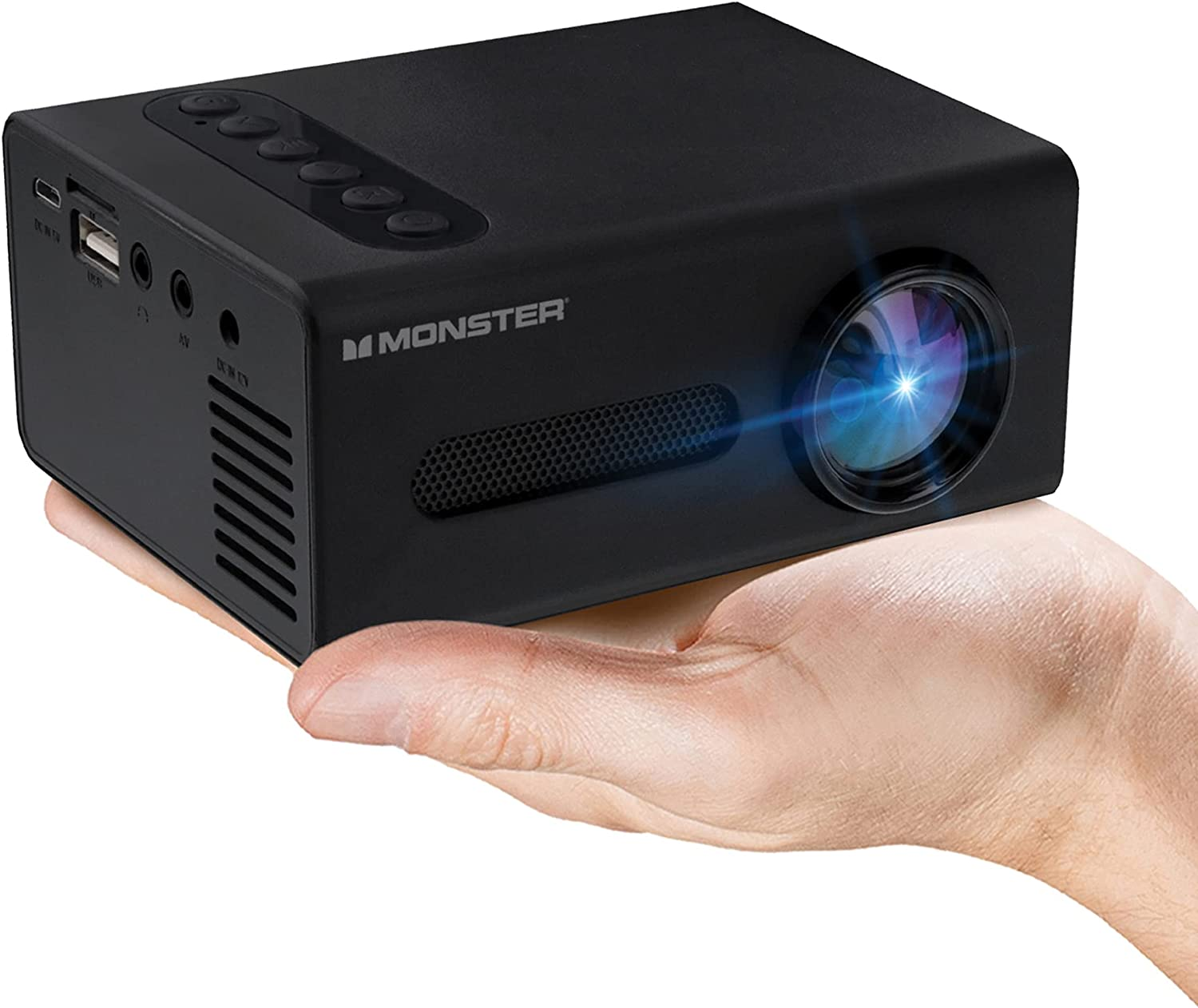 Monster Image Mini Small Format LCD Projector 1920x1080 HD Quality, Project Up to 8 Feet Away, Works On Projection Screens Ranging from 20-80 Inches. Supports Any Format with Universal HDMI Cable