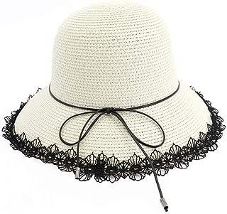 Lady's Sun hat Women's Hat Summer Sun Hat Foldaway Lace Ribbon Beach Hat Bowknot Hat Holiday Hat Sun hat (Color : White, Size : 56-58CM)