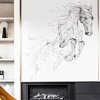 DERUN TRADING Huge Gallop Wild Mustang Horse Silhouette Wall Decal Mural Decor Art Mural Peel and Stick Wallpapaer for Bedroom Kids Room Playroom Toddlers Bedroom Motivational