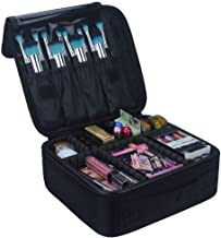 Relavel Travel Makeup Train Case Makeup Cosmetic Case Organizer Portable Artist Storage Bag with Adjustable Dividers for C...