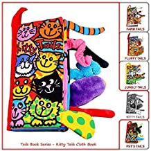 Kitty Tails Fabric Baby Soft Cloth Book,Early Learning Educational Crikle Toy for Toddlers, Babies, Infants and Kids, Girls & Boys, 3~36 Months,Funny Animal Tails Book,Kitty Cat, Mouse, Baby Toys Book