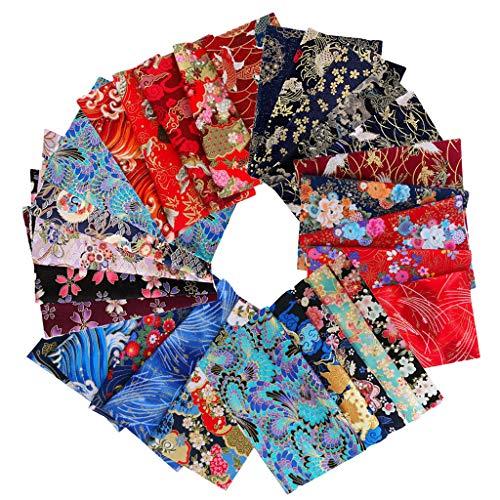 F Fityle 5er/Pack Japanische Stil Baumwolle Stoffe Patchwork Stoffpakete Dekostoff Bekleidung DIY Basteln, 20x25cm - C 20X25CM