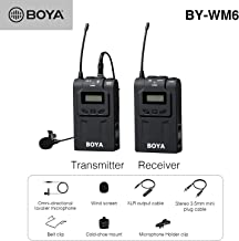 BOYA 48-Channel UHF Professional Omni-Directional Wireless Lavalier Microphone System with Omni-Lav,Portable Transmitter and Receiver 3.5mm/XLR Outputs for Canon,Nikon,Sony,Camera,DSLR,Camcorder,Etc