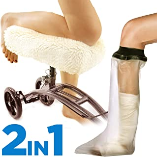 Colux Knee Walker Pad Cover + Watertight Cast and Bandage Protector | Plush, Synthetic, Faux Sheepskin Scooter Washable Cushion for Knee Roller & Adult Foot Protection in Shower (Off White)