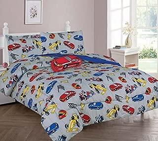 GorgeousHome RACE CARS Design Silver Blue Deluxe Kids/Teens Boys Complete Bedroom Decor Comforter/Sheet Set or Window Dressing Curtain Panel or Valance (8PC FULL COMFORTER SET)