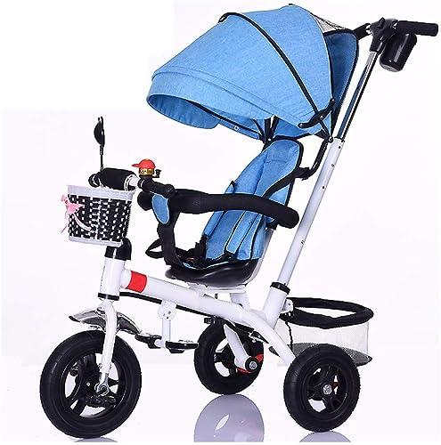 GSDZSY - Kinder-Dreirad Verstellbarer Sitz und Lenker, Abnehmbarer Putter und Zaun, Verstellbare Markise, Schubstange kann die Lenkung steuern, 1-5 Jahre alt