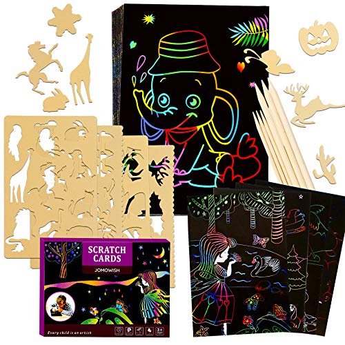 JOMOWISH Scratch Art for Kids, 64 Pcs Rainbow Magic Scratch Paper Kids Art Set Supplies for Kids Art...