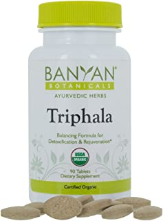 Banyan Botanicals Organic Triphala Tablets - Certified USDA Organic - Balancing Formula for Detoxification, Elimination & Rejuvenation (90)
