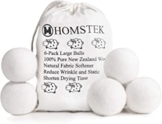 Wool Dryer Balls by Homstek, 6 Pack, XL Size Premium Reusable Natural Fabric Softener, Reduce Clothing Wrinkles and Static, Shorten Drying Time