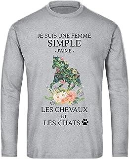 TEEZILY Je suis Une Femme Simple, J'aime Les Chevaux et Les Chats - Gris chiné - XXL