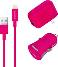 Apple MFI Certified Home Charger Adapter and Lightning Cable 4FT with Car Charger - 2.4 Amp Charger Kit with Rapid Charge Apple Lightning to USB Cable for iPhone iPad iPod - Pink