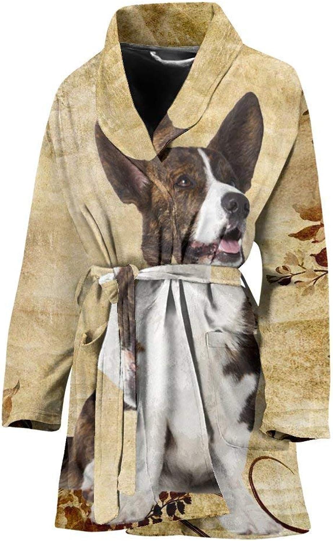 Deruj Cardigan Welsh Corgi Print Women's Bath Robe