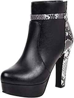 Aunimeifly Women's Pointed Toe Leather Shoes Zip Thick High Heel Shoes Snake Stitching Ladies Stylish Ankle Boots