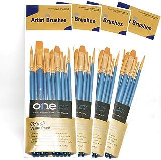 10本入り4セット 人工毛 絵筆4セット、ブルー、アクリル画、油絵、水彩画用