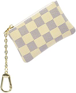 Kagicolin Checkered Zipper Key Chain Pouch Mini Coin Purse Wallet Card Holder with Clasp PU Vegan Leather for Men Women Beige