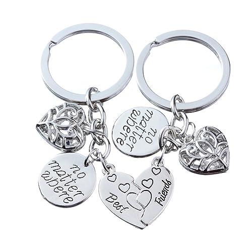 2pcs Women Men Gift BBF Best Friends Key Chain Ring No Matter Where Split  Broken Heart 4bd0bfe2c9