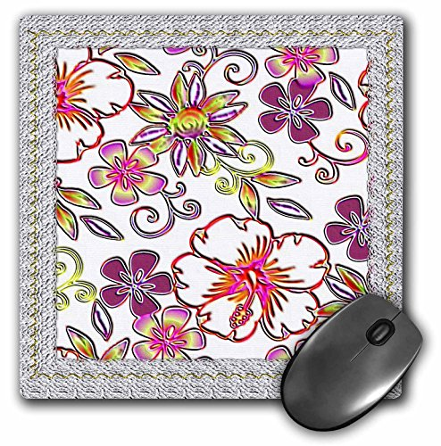 3Drose LLC 8 X 8 X 0.25 Inches Mouse Pad, Lace Frame and Pretty Flower Pattern (Mp_108045_1)