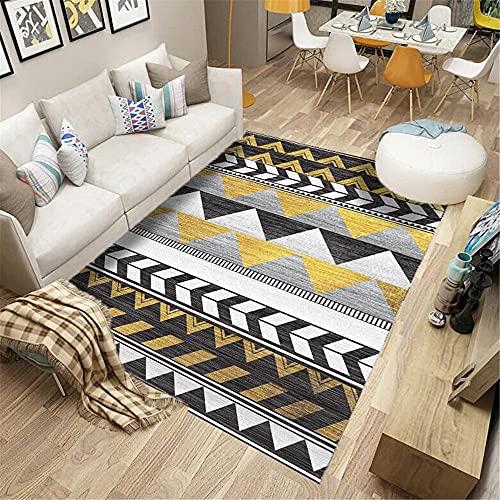La alfombras alfombras para escaleras Alfombra geométrica Amarilla Gris Negra Fácil de Limpiar y Duradero Decoracion hogar decoración habitación niño 140*200cm