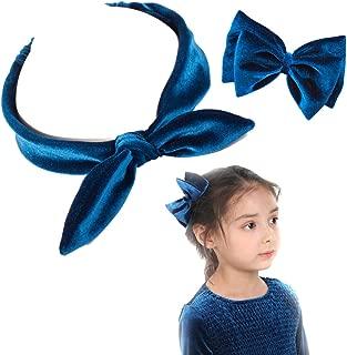 Girls Bow Headbands and Hair Clip, Velvet Elastic Turban Headwraps, Vintage Rabbit Ear Head Band Bow Hairclip Fabric Fashion Hair Accessories