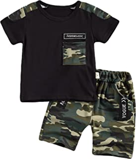 Baby Toddler Boy 2Pcs Summer Clothes Suit, Short Sleeve Round Neck T-Shirt Tops and Camouflage Shorts Set Outfit
